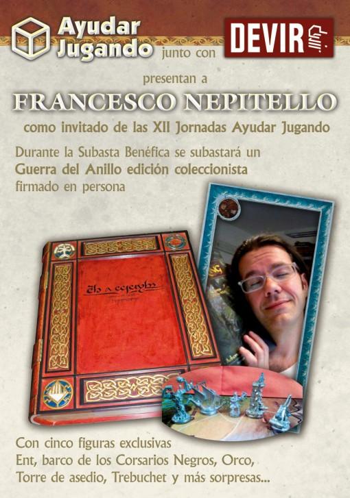 Cartel promocionar de la colaboracion de francesco Nepitello con Ayudar jugando