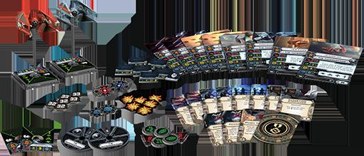Componentes de la expansión de x-wing Empire Aces