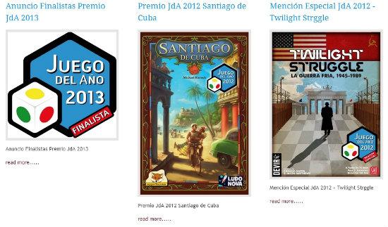 Captura web de los premios JdA