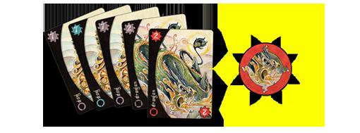 Ejemplo de cartas y ficha de guerrero de Sangoku