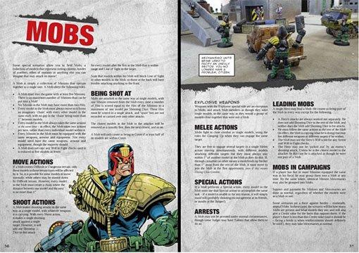 Paginas del libro de reglas de Judge Dredd