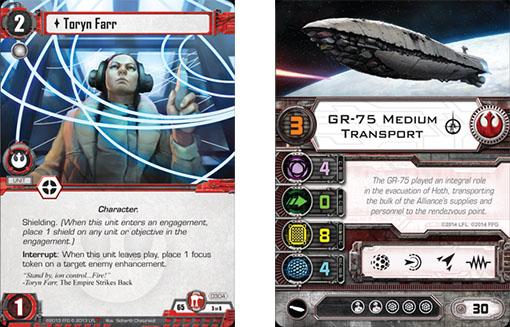Ejemplos de cartas de la expansión GR-75 para X-Wing