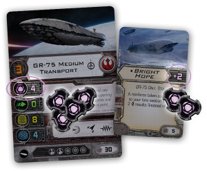 X-Wing, GR-75 y carta de mejora