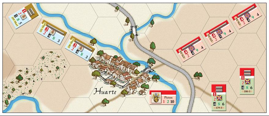 Mapa y contadores de Quatre Batailles en Espagne