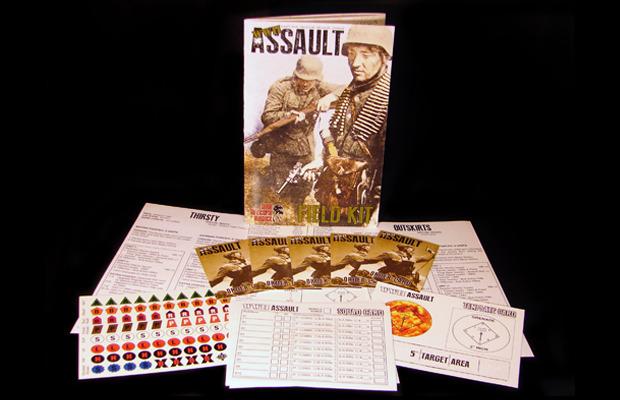 Imagen donde se ven los componentes del jeugo WWII Assault