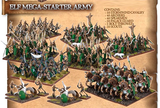 Mega ejercito elfico de Kings of war