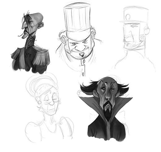 Bocetos de los personajes de Mysterium