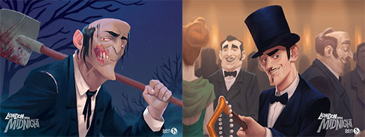 Ilustraciones de las cartas de London after midnight