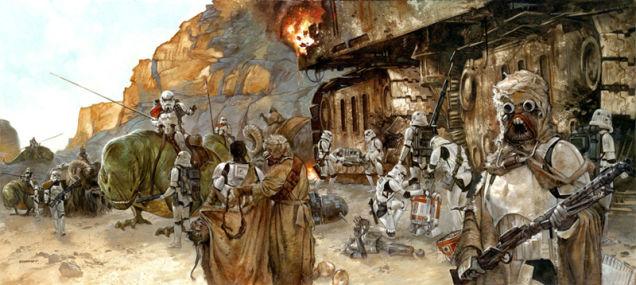Ilustración de Star Wars con Moradores disfrazados