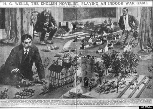 Ilustración de Little wars con HG Wells en plena partida