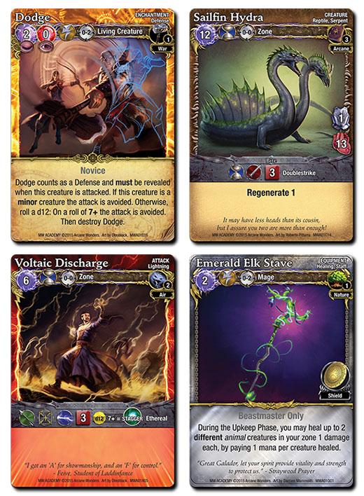 Cartas de hechizos de Mage Wars Academy