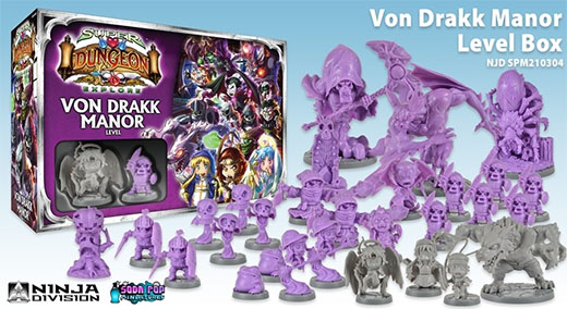 Componentes de Super Dungeon Explore: Von Drakk Manor Level Box