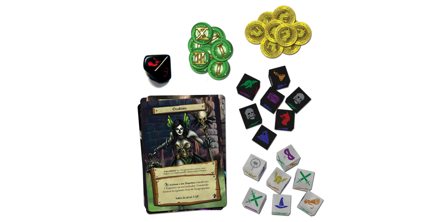 Componentes del juego de mesa Dungeon Roll