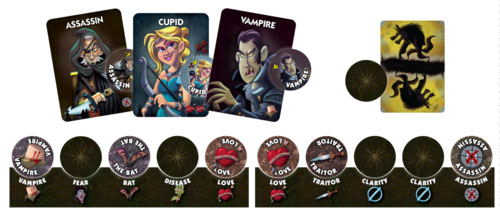 Cartas y marcadores de One Night Ultimate Vampire