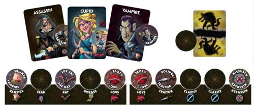 Cartas y marcadores de One Night Ultimate Vampire