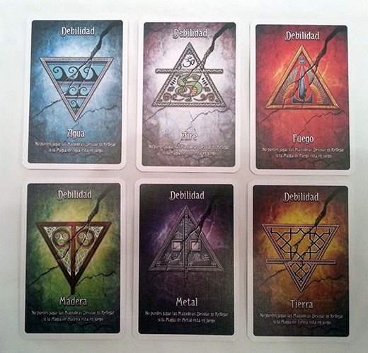 Cartas de debilidad elemental de Arcanya Magic Academy