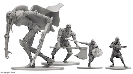 Miniaturas de los monstruos del juego de mesa de Dark Souls