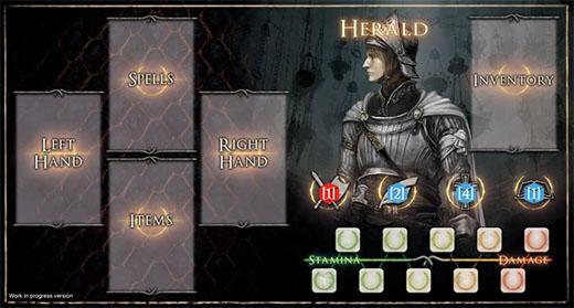 Hoja de control del personaje del juego de mesa de Dark Souls