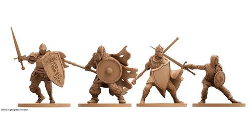 Miniaturas de los personajes jugadores del juego de mesa de dark souls