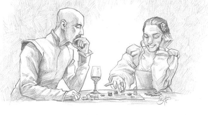 Ilustración de dos personas jugando al Tak