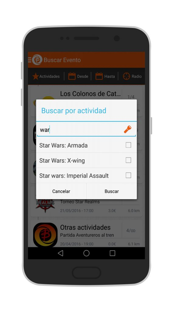 Interfaz de Busca Player para Android