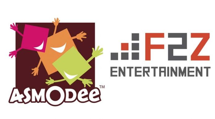 Logotipo de asmodee y F2Z Entertainment
