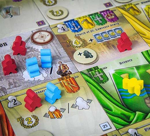 Losetas y peones en Guilds of London
