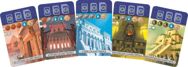 Cartas de templos de Seven Wonders Duel Pantheon