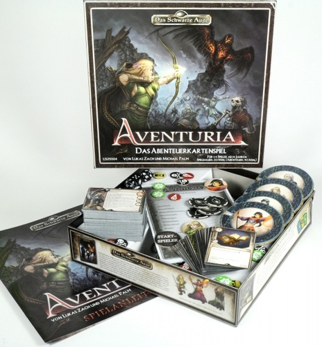 Componentes de Aventuria adventure card game