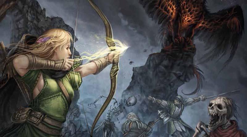 detalle de la ilustración de portada de Aventuria adventure card game