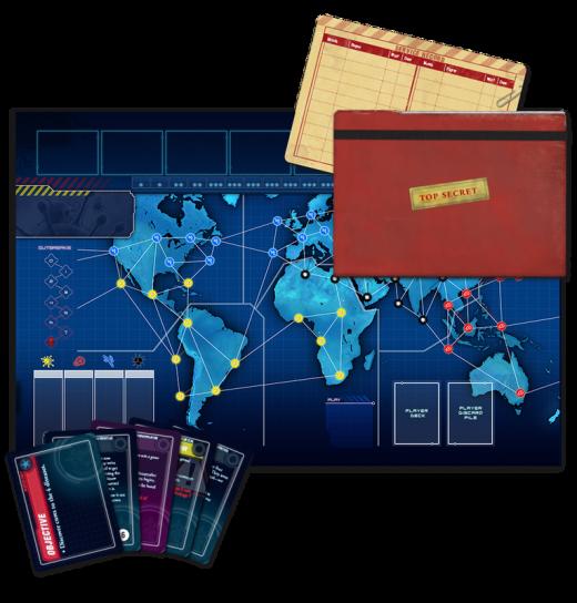 Componentes de Pandemic Legacy, juego del año 2016