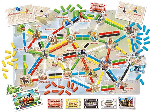 Componentes de Ticket to ride first journey europe