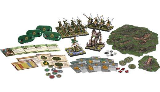 Componentes de la caja del ejército de los elfos Latari de Runewars Miniatures