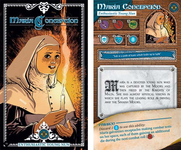 Uno e los personajes de la expansión Lumen Fidei de Time Stories