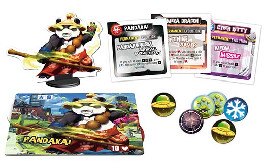 Componentes de la edición 2017 de king of tokyo Power Up!