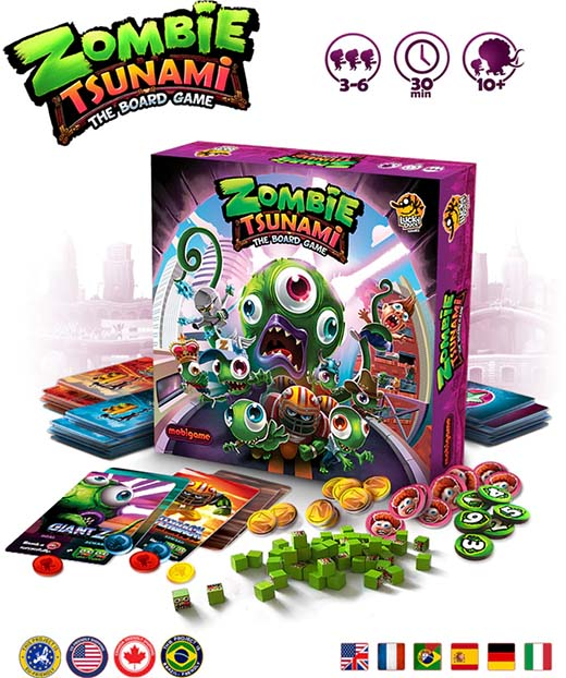 Componentes del juego de mesa zombie tsunami
