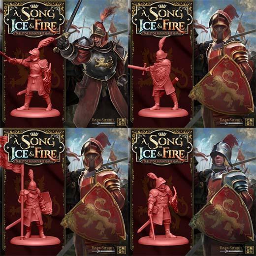 Render de las miniaturas de las tropas de la casa lannister para Canción de Hielo y Fuego el juego de miniaturas