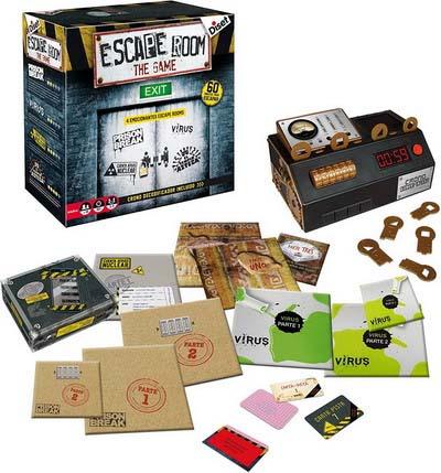 Componentes del juego escape room de diset