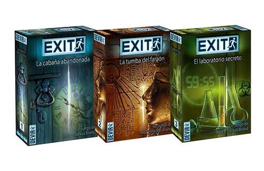 Portada de la edición devir de los tres juegos de exit the game
