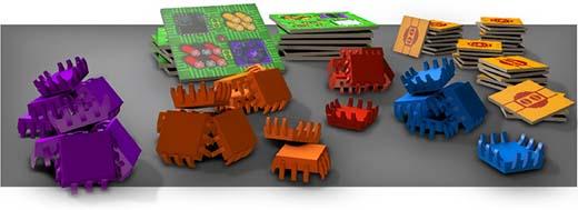 Componentes del juego de mesa Link