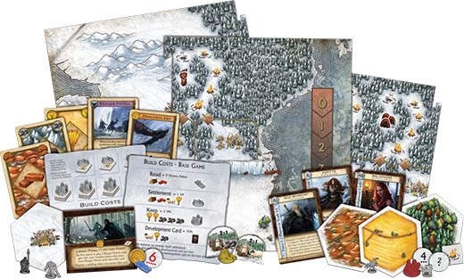 Componentes de A Game of Thrones Catan: Brotherhood of the Watch