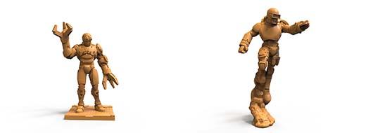 Miniaturas de las unidades especiales del juego de mesa Iron Wars