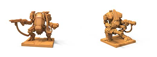 Miniaturas de mechs del juego de mesa iron wars