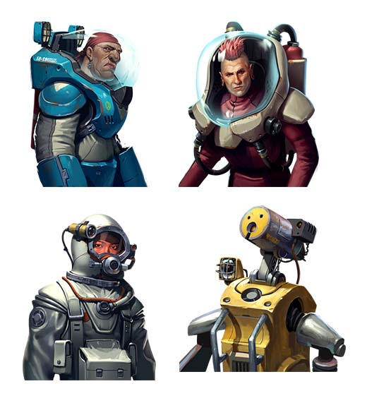 Personajes del juego de mesa Otys