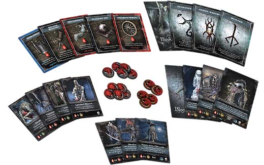 Componentes de la expansión para el Bloodborne the card game the hunter's nightmare