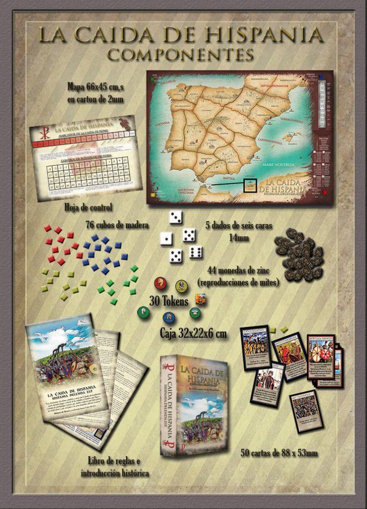 Componentes del juego La caída de Hispania
