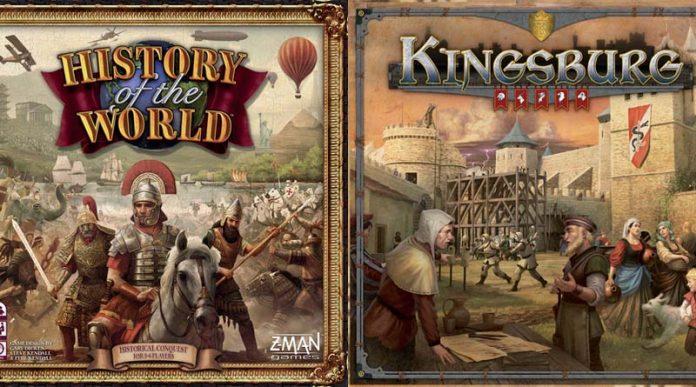 Portadas de la segunda edición de History of the world y Kingsburg de Z-Man Games