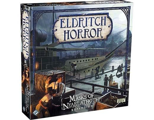 Portada de la expansión Las Máscaras de Nyarlathotep para Eldritch Horror