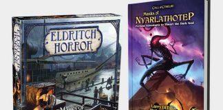Portadas del juego de mesa y el juegod e rol de Las Máscaras de Nyarlathotep