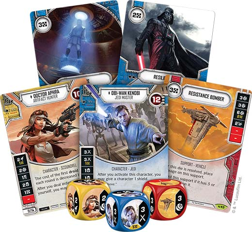 Cartas y dados del pack legacies de star wars destiny